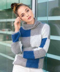 Описание вязания на спицах свитера в клетку из журнала «Verena. Модное вязание» №5/2014