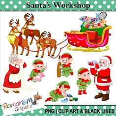 Christmas: Santas Workshop Clip art from RamonaM Graphics on TeachersNotebook.com -  (36 pages)  - This set includes some of the typical things you would see in Santa's Workshop. I have also included bonus reins to give you the option of joining the reindeer to the sleigh (as in my preview). Each i