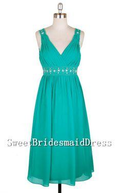 Strap V-neck Green Beadings Empire Ruffles Short Chiffon Dress Prom Dress Evening Dress Wedding Dress Short Bridesmaid Dress Formal Dress