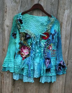 Blue elf extravagant reworked cardi wearable art by FleursBoheme