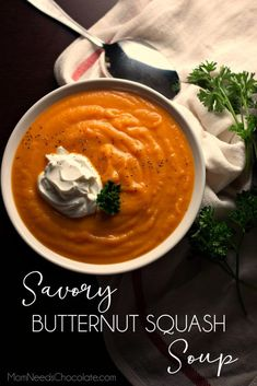 Savory Butternut Squash Soup is comfort in a bowl! A creamy blend of butternut squash carrot onion chicken broth cream and a touch of butter this soup is a simple and savory version of the classic fall favorite. Crockpot Recipes, Soup Recipes, Cooking Recipes, Dinner Recipes, Chili Recipes, Recipies, Thanksgiving Soups, Soup Appetizers, Onion Chicken