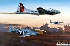 Last One Home by Ivan Berryman. (GL)   A pair of P51D Mustangs of the 361st Fighter Group, 8th Air Force, escort a damaged B17G Flying Fortress of the 381st Bomb Group back to its home base of Ridgewell, England, during the Autumn of 1944.