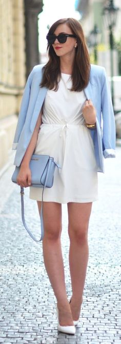 Light Blue And White School Back Outfit Idea by Vogue Haus