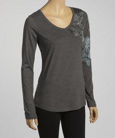 Take a look at this Dark Shadow Paisley Costa V-Neck Top by Aventura on #zulily today!