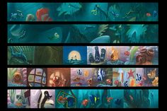 Finding Nemo – The Art of Finding Nemo Disney Concept Art, Game Concept Art, Storyboard Drawing, Drawing Sketches, Color Script, In And Out Movie, Film Images, Design Theory, Sketch Painting
