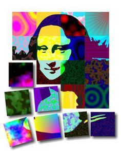 group pop art project - art is made into a template, colored by individual students and then pieced back to ether.