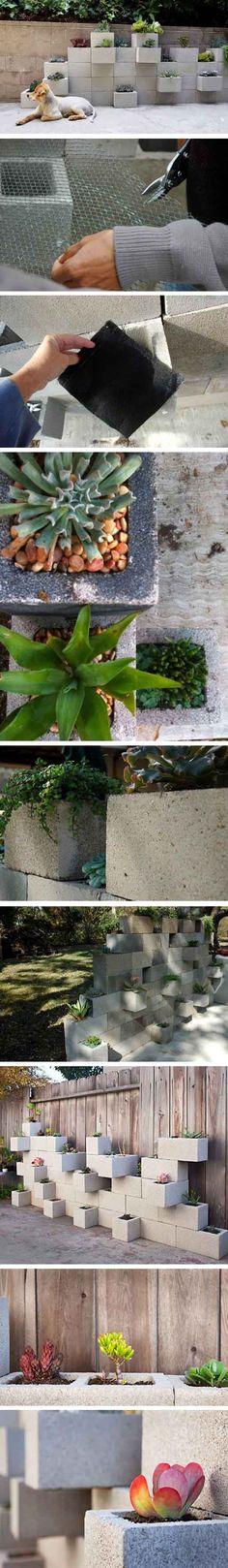 Jardineras con bloques de hormigón