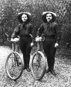acrobats getting ready to perform a saut périlleux à bicyclette (a perilous bicycle jump). It was taken on March 22, 1910