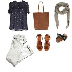 Casual blue, white, and brown outfit