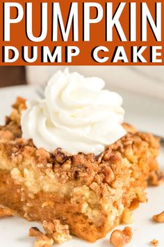 Pumpkin Dump Cake Pumpkin Dump Cake is the perfect fall dessert alternative to pumpkin pie! With a dense pumpkin base and a cake topping both loaded with Pumpkin Pie Spice and chopped nuts, this dessert's amazing layers will impress the whole family! Pumpkin Crumble Cake, Pumpkin Crunch Cake, Pumpkin Crisp, Pumpkin Bars, Pumpkin Cheesecake, Pumpkin Pie Crisp Recipe, Pumpkin Earthquake Cake Recipe, Pumkin Cake, Carrot Cake
