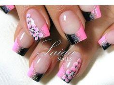 Love this pink and black nail design! nails uñas pintadas, u Orchid Nails, Flower Nails, Pink Nails, Black Nails, Fabulous Nails, Gorgeous Nails, Pretty Nails, Ghetto Fabulous, Black Nail Designs