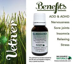 Vetiver Essential Oil benefits and uses include being helpful for ADD, ADHD, nervousness and stress.  It can also soothe symptoms of insomnia and sore joints.  Great when you need to relax as well!  #aromatherapy