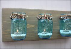 weathered wood and blue mason jars   Blue Mason Jar Wall Vase - Sconce - Modern Rustic Wall Decor by Kate ...