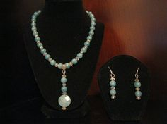 Aquamarine gem stone pendant strung with Crystals by MDJewelCraft, $60.00