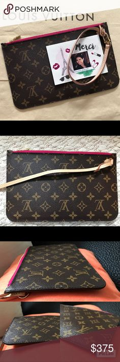 NeverFull MM/GM pouch In almost new pre-owned condition. No dust bag/box. No flaws to mention... if there is, it's very minimal & hard to find. You can add strap or long chain to turn it into a crossbody. Serious buyer only, tIA🙏🏻. Louis Vuitton Bags Clutches & Wristlets