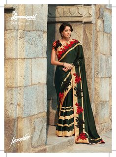The olive green satin+ chiffon designer saree can be worn in a fascinating manner on festival/ occasion. The red and black resham work patches in alternate sequence and golden brocade lace , both, are teaming up with this elegant saree which gives Exquisite and royal look!
