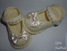 Booties-shoes, crocheted | Needlework