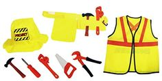 Construction Worker Kids Costume Role Play Set With Tools (8 Pcs), 2015 Amazon Top Rated Construction Tools #Toy