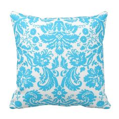 Blue and White Fancy Damask Patterned Throw Pillow  #pillows #homedecor #gifts