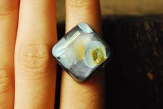 Pastel Diamond Resin Ring with Sterling Silver Band  by ResinRings