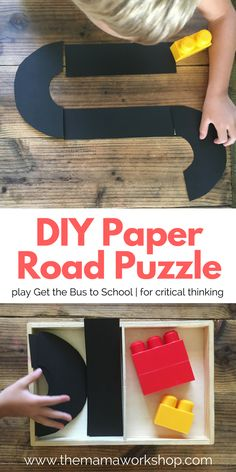 Make this DIY Road Puzzle and your preschooler can play Get the Bus to School. All you need is paper, scissors and blocks. Great for critical thinking.