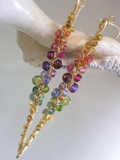 Rainbow Gemstone Encrusted Earrings, Gold Filled Gem Stems, Amethyst, Tanzanite, Tourmaline, Sapphire,  Signature Original, made to order by bellajewelsII on Etsy https://www.etsy.com/listing/162722030/rainbow-gemstone-encrusted-earrings-gold
