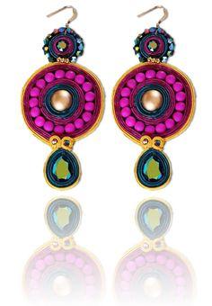 #Soutache #earrings, Soutache #jewerly, #handmade jewerly, #bijoux, #orecchini, #pendientes #fashion #design #madeinitaly #swaroski -ADELE EARRINGS