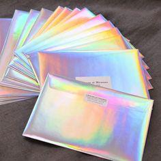 Enveloppes Hologramme Business Paper, Envelopes, Typography, Lettering, Packaging Design Inspiration, Brand Packaging, Business Design, Letterpress, Creative