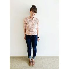 Happy hump day! | Brighteningup things with a neon pink floral buttonup (buttoned to the top!), skinny jeans, and English saddle oxfords all from @jcrew  #howtojcrew #ootd #aotd