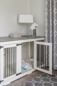 Our farmhouse style Doggie Dens can have any color combination you want! Here's a beautiful one with a Grey top and White body. :)