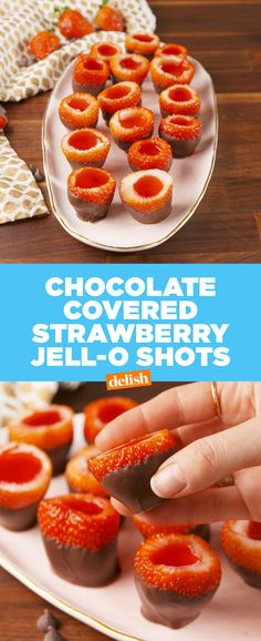 Chocolate Covered Strawberry JELL-O​ Shots are the best way to get lit on Valentine's Day. Get the recipe at Delish.com. #recipe #easyrecipe #jello #shots #vodka #alcohol #liquor #drinks #drinking #strawberry #chocolate #holiday #valentinesday #valentine