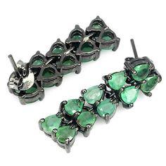 Green emerald black rhodium plated 925 silver earrings