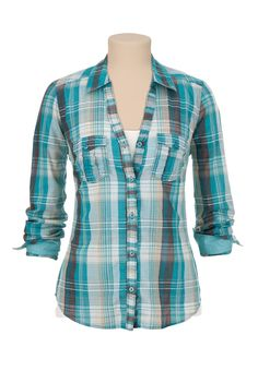 Button Down Plaid Shirt with Lurex - maurices.com