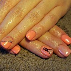 Orange shimmer zip nails
