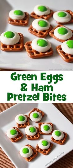 Green Eggs and Ham Honor the rhyming Dr. Seuss with these fun and delicious Green Eggs & Ham Pretzel Bites. So yummy and quite frankly the only green egg I will agree to eating! Ham And Eggs, Green Eggs And Ham, Pretzel Treats, Pretzel Bites, Pretzels, Pretzel Rods, Dr Seuss Snacks, Cooking In The Classroom, Ham Breakfast