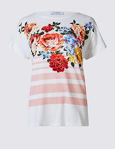 Cluster Floral Print Short Sleeve T-Shirt