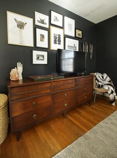 Moody Modern Boho Master Bedroom Progress: Black Walls Gallery wall around a tv- painting a wall black to hide tv Modern Boho Master Bedroom, Tv In Bedroom, Stylish Bedroom, Bedroom Decor, Bedroom Ideas, Gray Bedroom, Dark Master Bedroom, Bedrooms, Bedroom Inspo