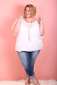 Soft and Sheer Top - White (Sizes 28 - 32) | Affordable Plus Size Fashion Cool Gal Blue