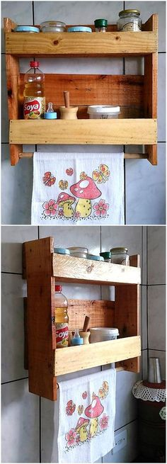 simple kitchen shelf out of pallets