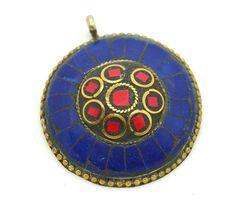 Bohemian Pendant, 1pc,  Large Pendant, Brass Pendant,  Tibetan Pendant