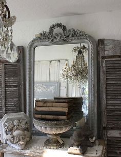 French vignette decorating with antique elements, decor accessories and the color palette.