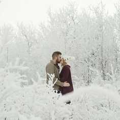 LOVE this beautiful shot by @kristilee_parish in a field of snow covered trees! by walkingdowntheaisle