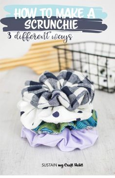 How to Make a Scrunchie 3 Different Ways - - How to Make a Scrunchie 3 Different Ways DIY Kids Ever wondered how to make a scrunchie? We'll show you 3 different ways including one no-sew method to make as many scrunchies as needed. Diy Sewing Projects, Sewing Hacks, Sewing Tutorials, Sewing Crafts, No Sew Crafts, Sewing Tips, Diy Hair Scrunchies, How To Make Scrunchies, Diy Couture