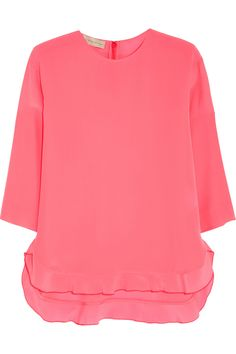 Stella McCartney | Ruffled silk crepe de chine top | NET-A-PORTER.COM