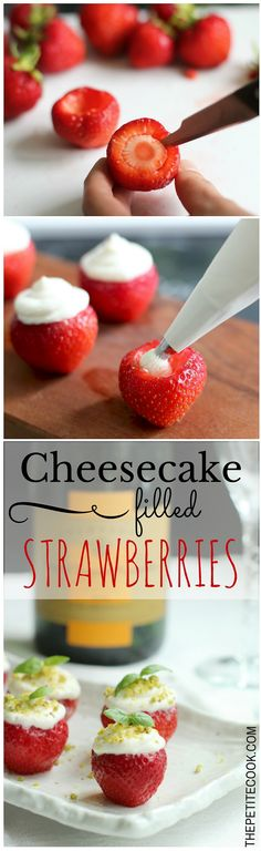Looking for an easy delicious party dessert? These cheesecake filled strawberries are the perfect sweet bite for any occasion! Healthy, quick and yummy recipes by The Petite Cook