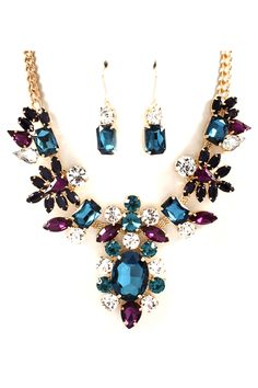 Averly Necklace Set in Sapphire and Amethyst Crystal