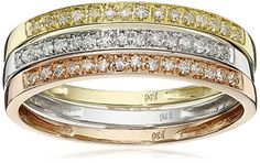 Amazon.comCatch the trend of stacking rings with this fun set of white, yellow and rose-gold diamond rings. Displayed at the top of each 10k gold band is a display of 15 prong-set diamond stones that reveal J-K color and I2-I3 clarity. When all three rings are worn, they make up 1/4 cttw. Wear... Black Diamond Jewelry, Diamond Stacking Rings, Rose Gold Diamond Ring, Diamond Stone, Stackable Rings, Earring Trends, Jewelry Trends, Colored Gold, Colored Diamonds