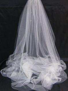Bridal Veil Swarovski Crystal Rhinestone Sheer 108 Inch Long Smooth Cut  Edge Cathedral Wedding Veil with 38aa49b85e53