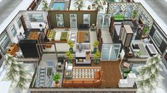 The Jones family winter vacation cabin - Front view of the second floor - in my Sims Freeplay