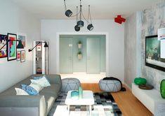 Две светлые квартиры с творческим подходом к хранению и яркими акцентами